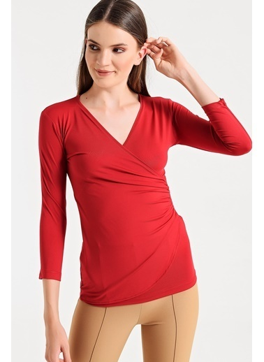 Jument Mary Anvelop Büzgülü Kapri Kol Bluz Kırmızı